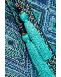 Matthew Williamson | Blue Pompom-trimmed Printed Silk-chiffon Coverup | Lyst