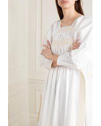 Molly Goddard White Shickle Kleid Aus Geraffter Baumwollpopeline Mit Canvas-einsätzen