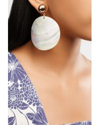 Kenneth Jay Lane White Gold-plated Faux Shell Earrings