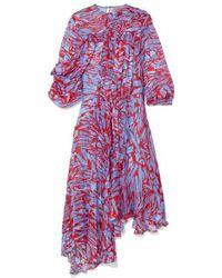 Robe Asymétrique En Satin De Soie Mélangée Dévoré Imprimé Helen Preen By Thornton Bregazzi en coloris Red
