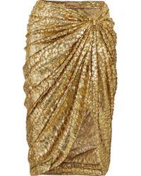 Michael Kors Metallic Fil Coupé Draped Organza Midi Skirt