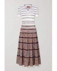 Missoni White Striped Crochet-knit Silk-blend Midi Dress