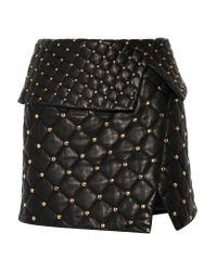 Balmain | Black Asymmetric Studded Quilted Leather Mini Skirt | Lyst