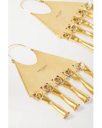 Saint Laurent Metallic Goldfarbene Ohrringe Mit Kristallen