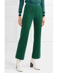 Missoni | Green Checked Stretch Wool-blend Straight-leg Pants | Lyst