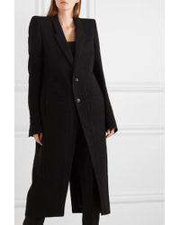 Rick Owens Black Cappotto Wool Coat