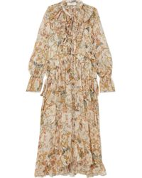 Zimmermann - Yellow Ruffled Printed Silk-georgette Midi Dress - Lyst