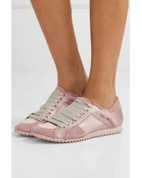 Pedro Garcia - Pink Cristina Frayed Suede-trimmed Satin Sneakers - Lyst