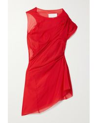 Maison Margiela Red Ruched Stretch-silk Chiffon Top