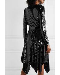 MICHAEL Michael Kors Black Asymmetrisches Kleid Aus Georgette Mit Pailletten Und Gürtel