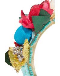 Ranjana Khan Pink Flora Raffia, Silk And Crystal Earrings