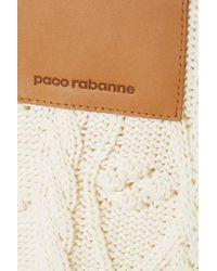 Paco Rabanne White Zopfstrickpullover Aus Baumwolle Mit Lederbesatz