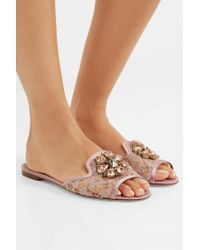 Dolce & Gabbana - Multicolor Embellished Corded Lace And Lizard-effect Leather Slides - Lyst