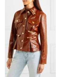 Versace Brown Embellished Textured Patent-leather Peplum Jacket