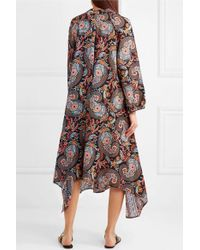 Anjuna Black Amira Embellished Printed Silk-twill Midi Dress