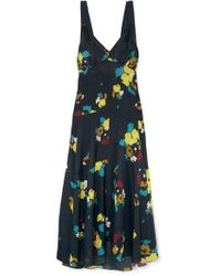 Lee Mathews Blue Maeve Floral-print Silk Maxi Dress