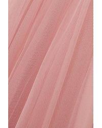 Robe Du Soir En Tulle Et En Crêpe De Chine De Soie À Volants Et À Fronces Monique Lhuillier en coloris Pink