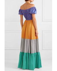 Caroline Constas Purple Bardot Off-the-shoulder Printed Cotton-blend Maxi Dress