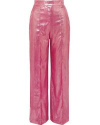 Pantalon Large En Velours Métallisé Marina Michael Lo Sordo en coloris Pink