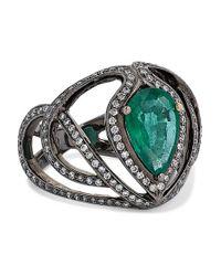 Bague En Or 18 Carats Noirci, Émeraude Et Diamants Amrapali en coloris Metallic