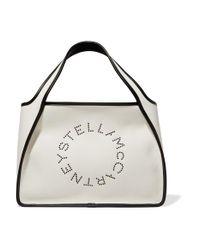 Stella McCartney White Tote Aus Canvas Mit Kunstlederbesätzen Und Ösen