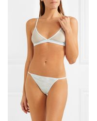 Skin - Multicolor Oriana Stretch-pima Cotton Jersey And Tulle Thong - Lyst