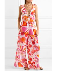 Emilio Pucci Pink Nigeria Embellished Printed Cotton And Silk-blend Jumpsuit