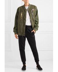 Nike - Green Riccardo Tisci Embellished Appliquéd Wool-blend Felt And Faux Leather Bomber Jacket - Lyst
