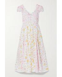 LoveShackFancy White Archer Kleid Aus Baumwolle Mit Blumenprint, Lochstickereien Und Häkelbesätzen