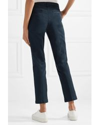 J Brand Blue Stretch-cotton Gabardine Straight-leg Pants Navy