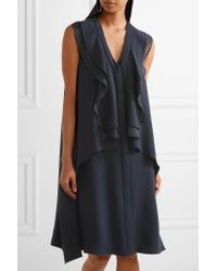 ADEAM Blue Ruffled Washed-crepe Dress