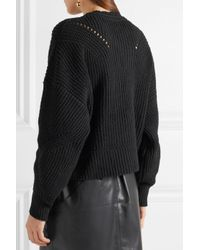 Isabel Marant - Black Lacy Ribbed Cotton-blend Sweater - Lyst