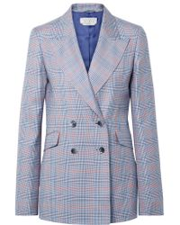 Gabriela Hearst Blue Angela Double-breasted Checked Wool And Silk-blend Blazer