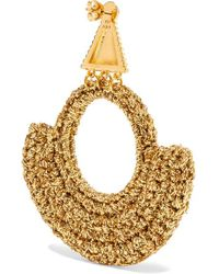 Lucy Folk Metallic Memphis Milano Gold-plated And Lurex Earrings