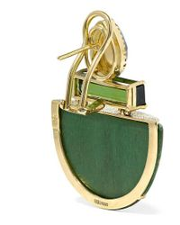 Silvia Furmanovich Metallic Marquetry 18-karat Gold Tourmaline, Moonstone And Diamond Earrings