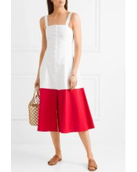 Staud White Dusk Two-tone Cotton-blend Poplin Dress