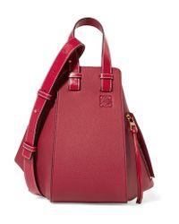 Loewe Hammock Textured-leather Shoulder Bag Red One Size