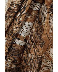 Ganni Brown Wickelrock Aus Bedrucktem Stretch-mesh Mit Volant