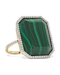 Bague En Or 14 Carats, Malachite Et Diamants Mateo en coloris Metallic