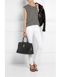 Saint Laurent Black Cabas Chyc Medium Leather Shopper