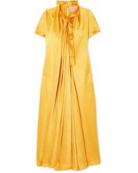 Roksanda - Yellow Rahine Ruffled Silk-satin Midi Dress - Lyst