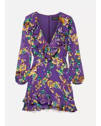 Saloni Purple Jodie Minikleid Aus Devoré-chiffon