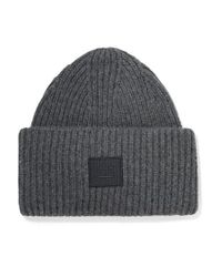 Acne Gray Pansy Face Appliquéd Ribbed Wool Beanie