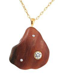 Cvc Stones Metallic 18-karat Gold, Stone And Diamond Necklace