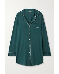 Eberjey Green Gisele Nachthemd Aus Stretch-jersey Mit Paspeln