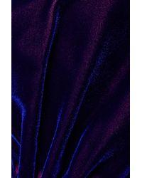 Christopher John Rogers Blue Geraffte Robe Aus Changierendem Samt