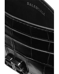 Balenciaga Black Bb Kartenetui Aus Glanzleder Mit Krokodileffekt
