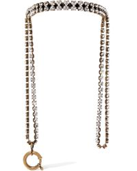 Balenciaga - Metallic Gold-tone Crystal Necklace - Lyst
