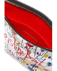 Christian Louboutin White Loubicute Printed Leather Pouch