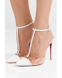 Christian Louboutin - White Nosy 100 Patent-leather And Pvc T-bar Pumps - Lyst